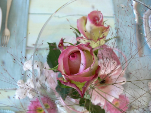 Tischdeko Turkis Rosa